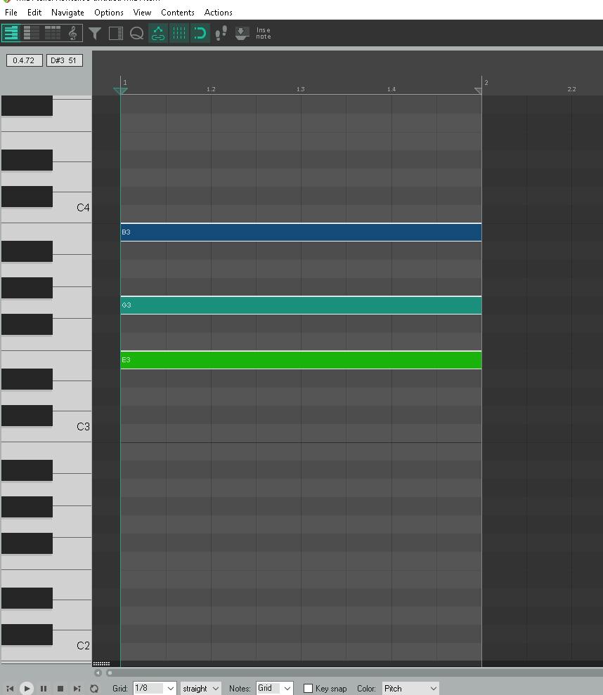 E Minor Chord – Piano Roll – Reaper