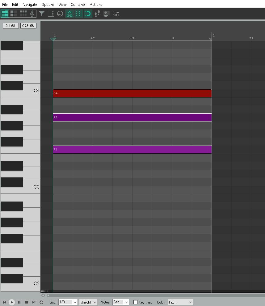 Reaper Piano Roll F Major Chord